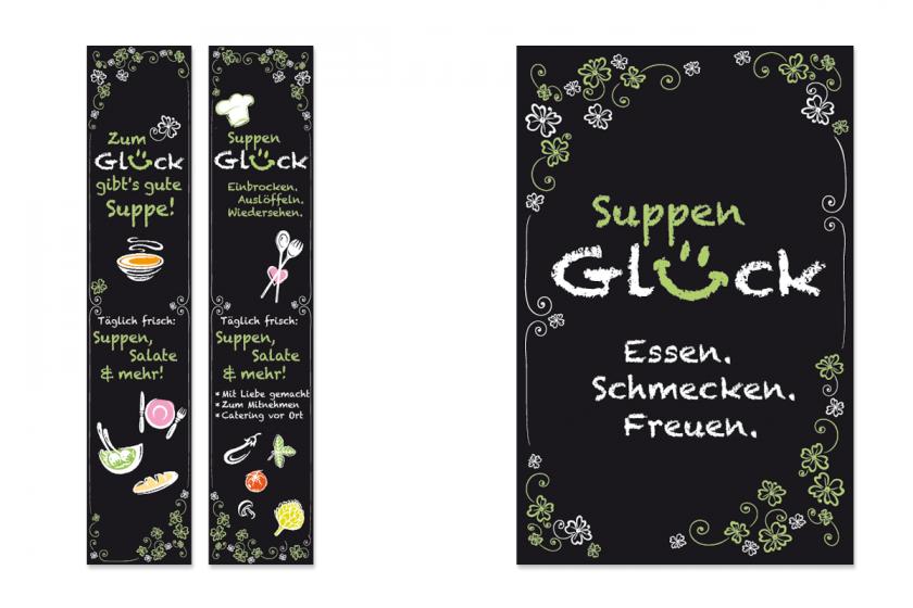 Suppenglück-Schilder